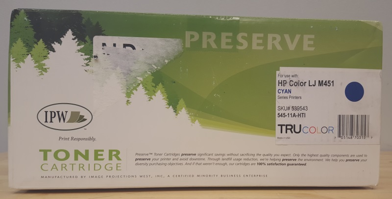 Ipw Preserve HP Laserjet Toner Cartridge Cyan 545-11A-HTI For LJM451