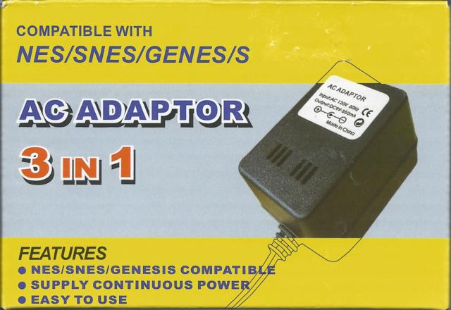3 In 1 Power Adapter NES SNES Sega Genesis