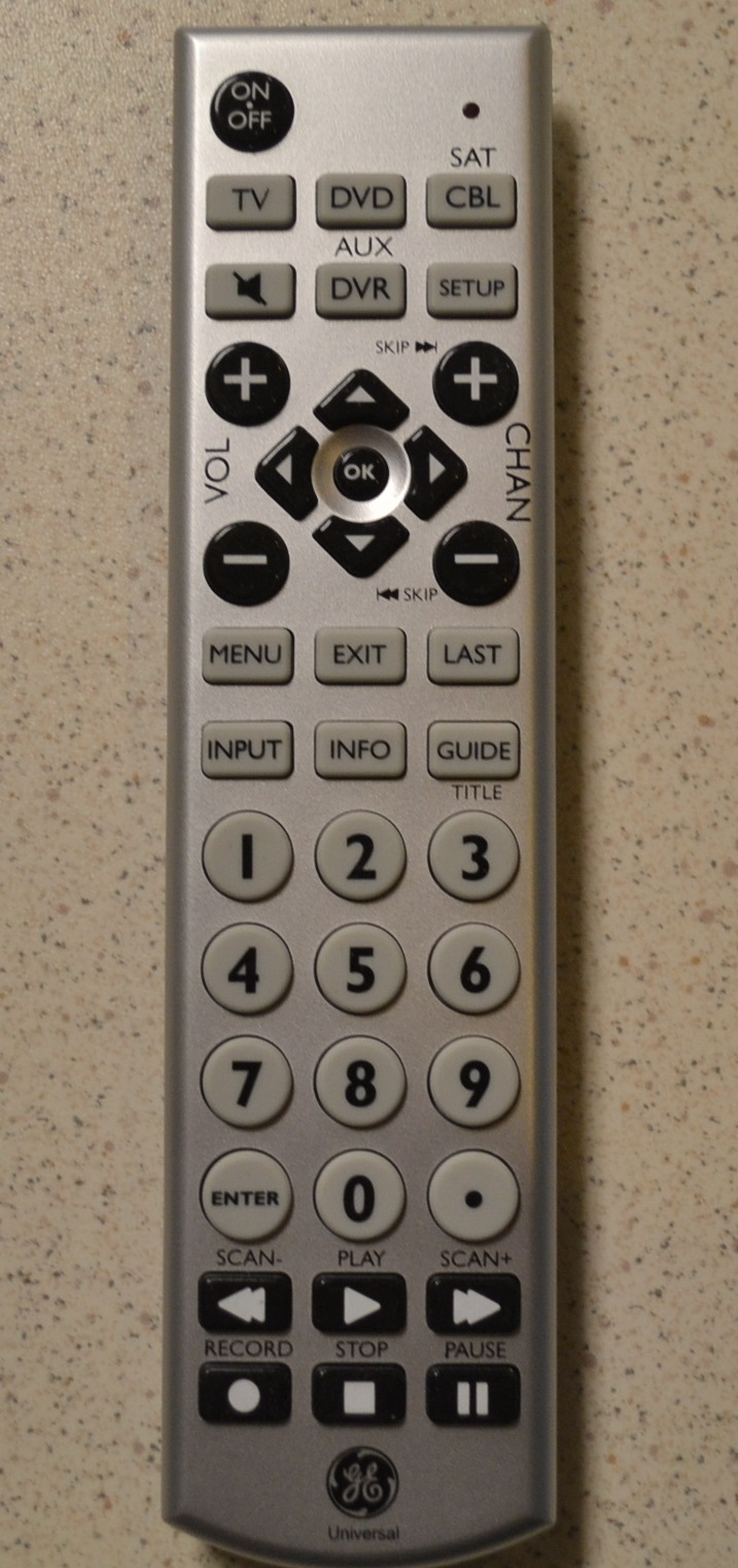 GE Universal Remote With Oversized Buttons Wireless Up To 4 Devices