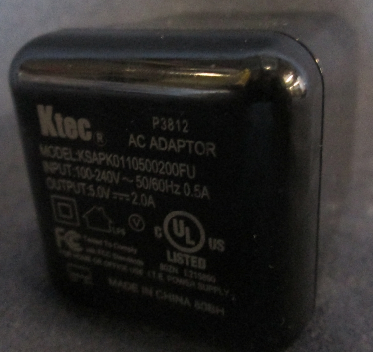 Ktec USB AC Adapter KSAPK0110500210FU No USB Cable Black Wall Power