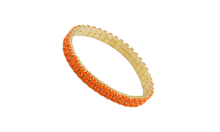 2 Row Resin Jewerly Stone Stretch Bracelet Orange