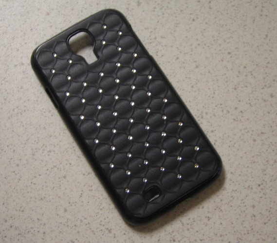 Quilted Rhinestone Designed Case Cover Black Fitted For Samsung Galaxy