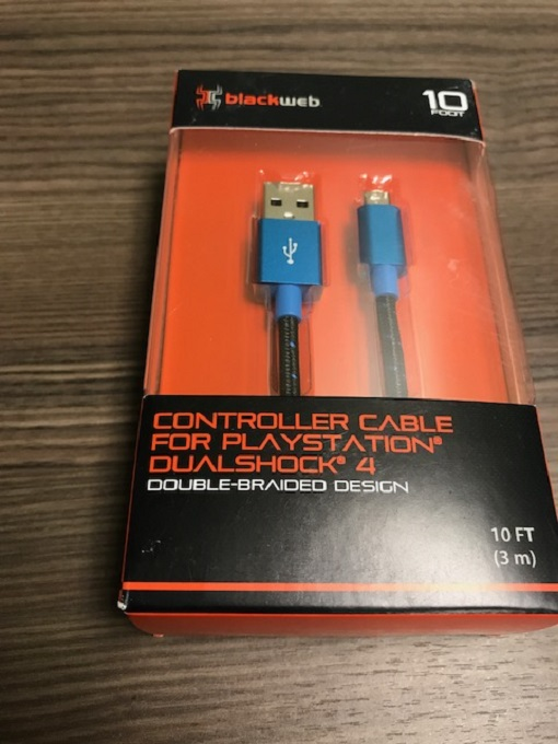 Black Web Controller Cable For PlayStation 4 Double Braided Design 10 Ft PS4 Blu