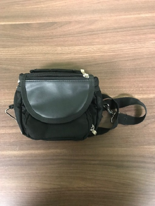 Black Faux Leather Camera Bag With Multiple Compartments Carry/Shoulder RAE726