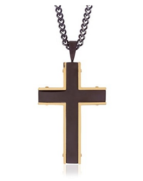 Blackjack Mens Black And Gold Plated Cross Pendant With 24 Inch Black