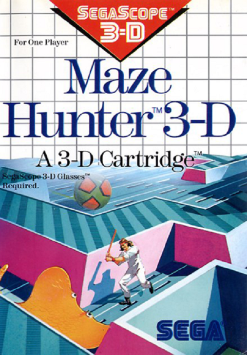Maze Hunter 3D A 3D Cartridge For Sega Master Vintage With Manual And Case